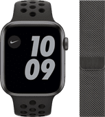 Apple Watch Nike SE 44mm Space Gray Aluminium Zwarte Sportband + Apple Watch 42/44 mm Pols