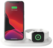 Belkin 3-in-1 Wireless Charger 7.5W with Stand and Apple Watch Charger White