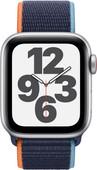 Apple Watch SE 4G 40mm Zilver Aluminium Donkermarineblauw Nylon Sport Loop