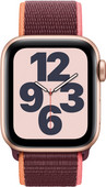 Apple Watch SE 4G 40mm Goud Aluminium Pruimenpaars Nylon Sport Loop