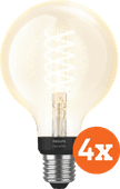 Philips Hue Filamentlamp White Globe E27 Bluetooth 4-Pack