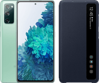Samsung Galaxy S20 FE 128GB Green 4G + Clear View Book Case Blue