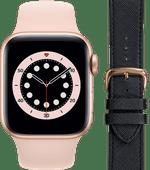 Apple Watch Series 6 40mm Roségoud Roze Bandje + DBramante1928 Leren Bandje Zwart/Roségoud