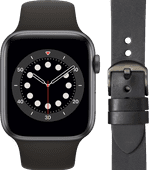 Apple Watch Series 6 44 mm Gris Sidéral Bracelet Noir + DBramante1928 Bracelet Cuir Noir