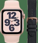 Apple Watch SE 40mm Roségoud Roze Bandje + DBramante1928 Leren Bandje Zwart/Roségoud