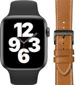 Apple Watch SE 44mm Space Gray Zwart Bandje + DBramante1928 Leren Bandje Bruin/Space Gray
