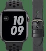 Apple Watch Nike SE 44mm Space Gray Black Strap + DBramante1928 Leather Strap Black