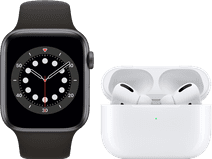 Apple Watch Series 6 44mm Space Gray Black Strap + AirPods Pro with Wireless Charging Case