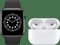 Apple Watch Series 6 40mm Space Gray Zwart Bandje + AirPods Pro met Draadloze Oplaadcase
