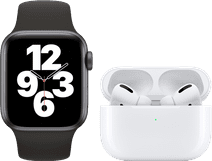 Apple Watch SE 40mm Space Gray Zwart Bandje + Apple AirPods Pro met Draadloze Oplaadcase