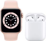 Apple Watch Series 6 40mm Rose Gold Pink Sand Strap + Apple AirPods 2 with Charging Case