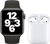 Apple Watch SE 40mm Space Gray Zwart Bandje + Apple AirPods 2 met oplaadcase