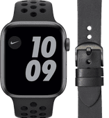 Apple Watch Nike Series 6 44mm Space Gray Zwart Bandje + DBramante1928 Leren Bandje Zwart