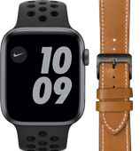Apple Watch Nike Series 6 44mm Space Gray Zwart Bandje+ DBramante1928 Leren Bandje Bruin