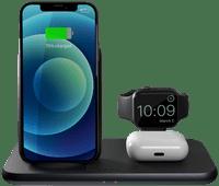 ZENS 3-in-1 Draadloze Oplader 15W met Apple Watch Stand Zwart