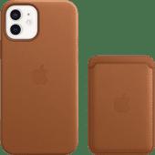 Apple iPhone 12 / 12 Pro Back Cover met MagSafe Leer Bruin + Leren Kaarthouder met MagSafe