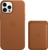 Apple iPhone 12 Pro Max Back Cover met MagSafe Leer Bruin + Leren Kaarthouder met MagSafe