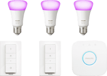 Philips Hue White & Colour Starter Pack E27 met 3 lampen + 2 dimmers Smart lamp startpakket