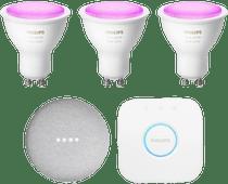 Philips Hue White & Colour Starter Pack GU10 + Google Nest Mini Wit