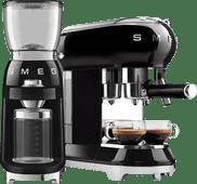 SMEG ECF01BLEU Zwart + Koffiemolen SMEG koffiezetapparaten