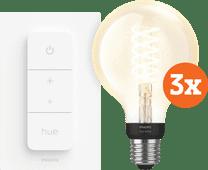 Philips Hue Filamentlamp White Globe E27 Bluetooth 3-Pack + Dimmer