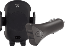 Ewent Universele Telefoonhouder met Draadloos Opladen + BlueBuilt Autolader