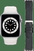 Apple Watch Series 6 44mm Zilver Wit Bandje + DBramante1928 Leren Bandje Zwart/Zilver