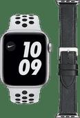 Apple Watch Nike Series 6 44mm Zilver Wit Bandje + DBramante1928 Leren Bandje Zwart/Zilver