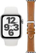 Apple Watch SE 44mm Silver White Strap + DBramante1928 Leather Strap Brown/Silver