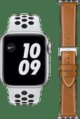 Apple Watch Nike SE 44mm Silver White Strap + DBramante1928 Leather Strap Brown/Silver
