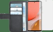 Azuri Wallet Samsung Galaxy A72 Book Case Zwart + Azuri Tempered Glass Screenprotector