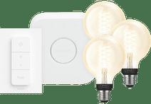 Philips Hue Decoratieve Globe Warmwit Licht E27 Bluetooth 3-Pack Startpakket met bridge