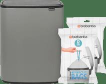 Brabantia Bo Touch Bin 2 x 30 Liter Mineral Concrete Grey + Vuilniszakken (80 stuks)