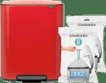 Brabantia Bo Pedal Bin 2 x 30 Liter Passion Red + Vuilniszakken (80 stuks)
