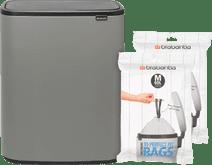 Brabantia Bo Touch Bin 60 Litres Mineral Concrete Grey + Sacs Poubelle (60 pièces)