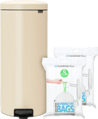 Brabantia NewIcon Pedaalemmer 30 Liter Amandel + Vuilniszakken (80 stuks)