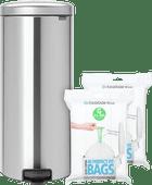 Brabantia NewIcon Pedaalemmer 30 Liter Mat Rvs + Vuilniszakken (80 stuks)