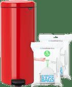 Brabantia NewIcon Pedaalemmer 30 Liter Rood + Vuilniszakken (80 stuks)