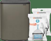 Brabantia Bo Touch Bin 2 x 30 Liter Platinum + Vuilniszakken (80 stuks) Brabantia Touch bin vuilbak