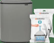 Brabantia Bo Touch Bin 2 x 30 Liter Mineral Concrete Grey + Vuilniszakken (80 stuks) Brabantia Touch bin vuilbak