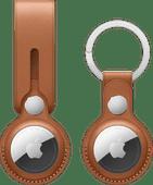 Apple AirTag Leren Hanger Zadelbruin + Leren Sleutelhanger Zadelbruin
