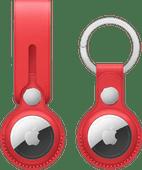 Apple AirTag Leren Hanger Rood + Leren Sleutelhanger Rood