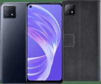 OPPO A73 128 Go Noir 5G + Azuri OPPO A73 Wallet Book Case Noir