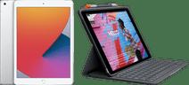 Apple iPad (2020) 10.2 inch 128 GB Wifi + 4G Zilver + Logitech Toetsenbord Hoes AZERTY