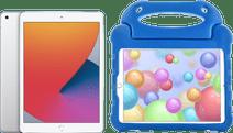 Apple iPad (2020) 10.2 inch Zilver 128 GB Wifi Zilver + Kinderhoes Blauw