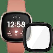 Fitbit Versa 3 Roze/Goud + PanzerGlass Fitbit Sense, Versa 3 Screenprotector Glas Zwart