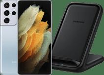 Samsung Galaxy S21 Plus 256GB Zilver 5G + Samsung Wireless Charger Stand 15W Zwart