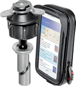 Lampa Opti-Tube Telefoonhouder Motor 10 mm - 13,3 mm + Waterdicht Leren Telefoonhoesje
