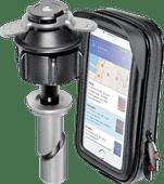Lampa Opti-Tube Telefoonhouder Motor 15 mm - 17,2 mm + Waterdicht Leren Telefoonhoesje