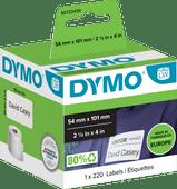 DYMO Authentieke LW Grote Verzendlabels/Naamkaarten Wit (54 x 101 mm) 1 Rol